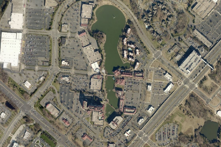 The Shoppes at University City, present day. Photo: Mecklenburg County GIS