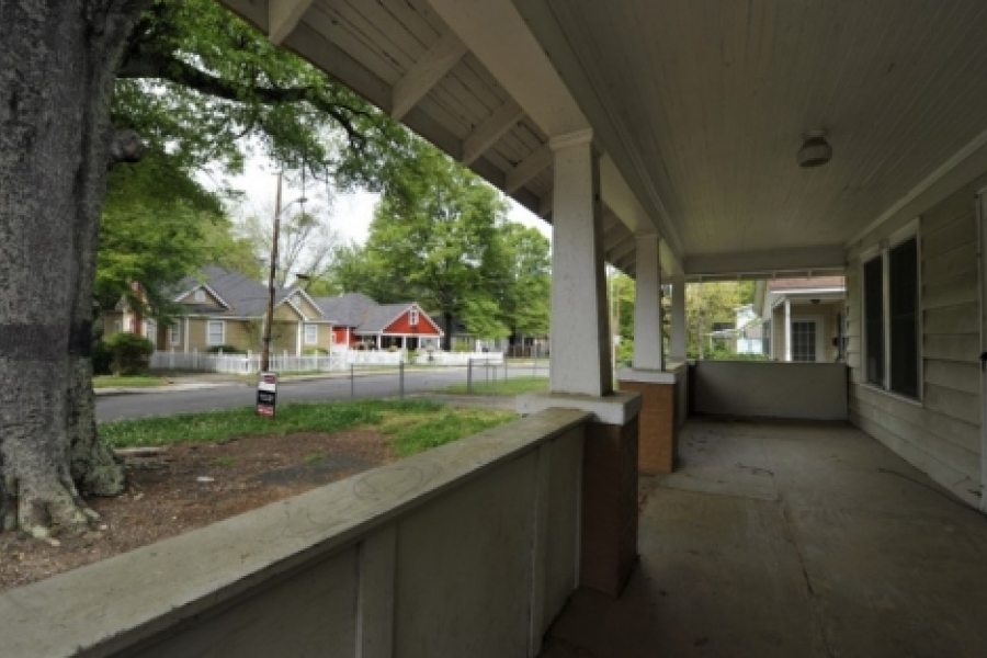 Villa Heights: Neighborhood fixer-upper for sale across from renovated houses, at Grace and Parson streets.