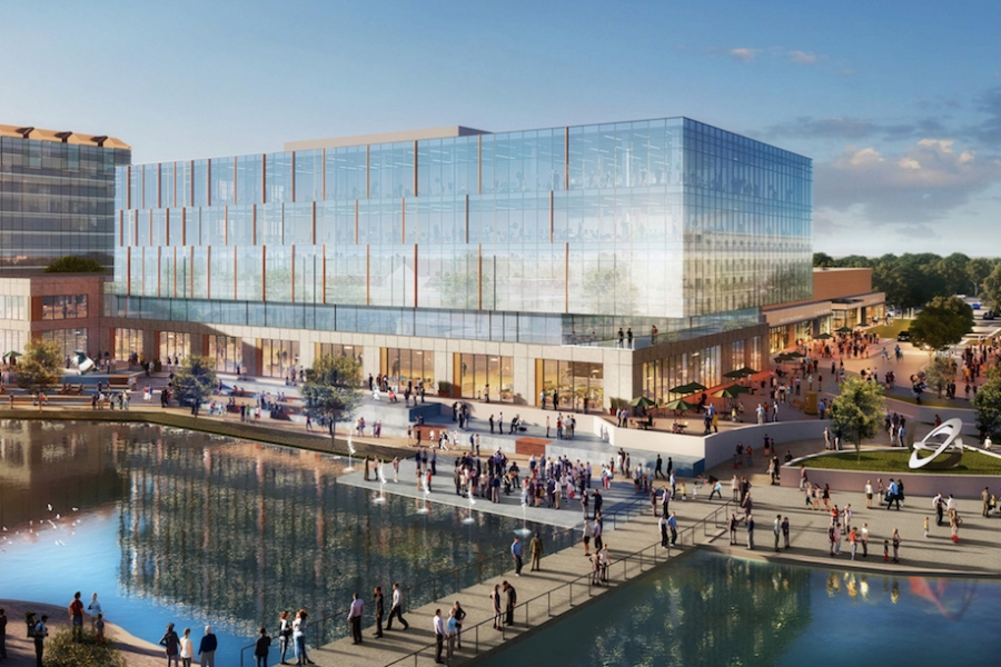 A rendering of Waters Edge, a planned redevelopment of a 1980s shopping center in University City. Rendering: EB Arrow.