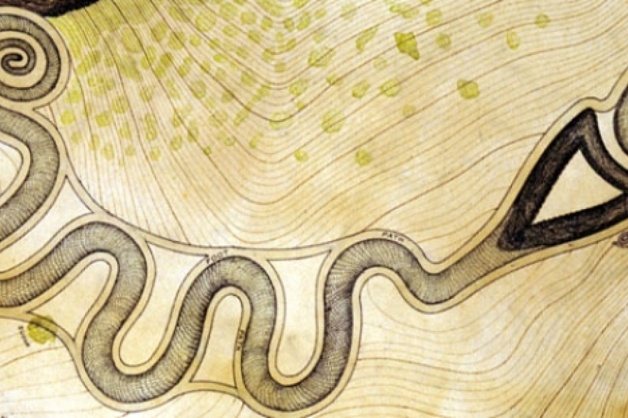 Plan view with contours of the Serpent Mound shows it plateau siting. The serpent's head approaches a cliff and many scholars see its open mouth around an egg. Source: Ohio Historical Society
