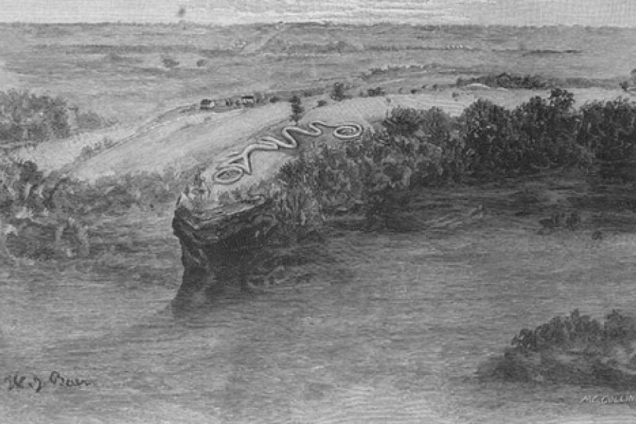 The Great Serpent Mound of Ohio was first reported from surveys by Ephraim Squire and Edwin Davis in their historic volume Ancient Monuments of the Mississippi Valley, published in 1848 by the newly founded Smithsonian Museum. From The Century Illustrated Monthly Magazine, November 1889 - F. W. Putnam