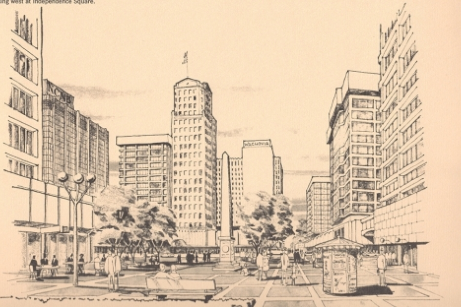"A car-free Independence Square, now called ""The Square,"" depicted in 1966 Central Area Plan."