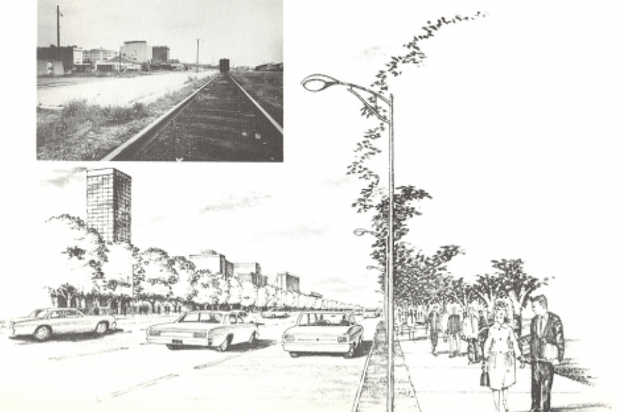 """Looking north along Convention Avenue [never built] with railroad tracks removed.""  (1966 plan)"