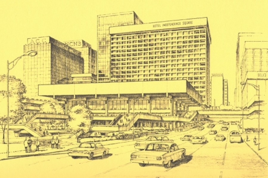 "Envisioned ""new"" convention center, now demolished, in foreground (looking toward The Square from East Trade Street)."