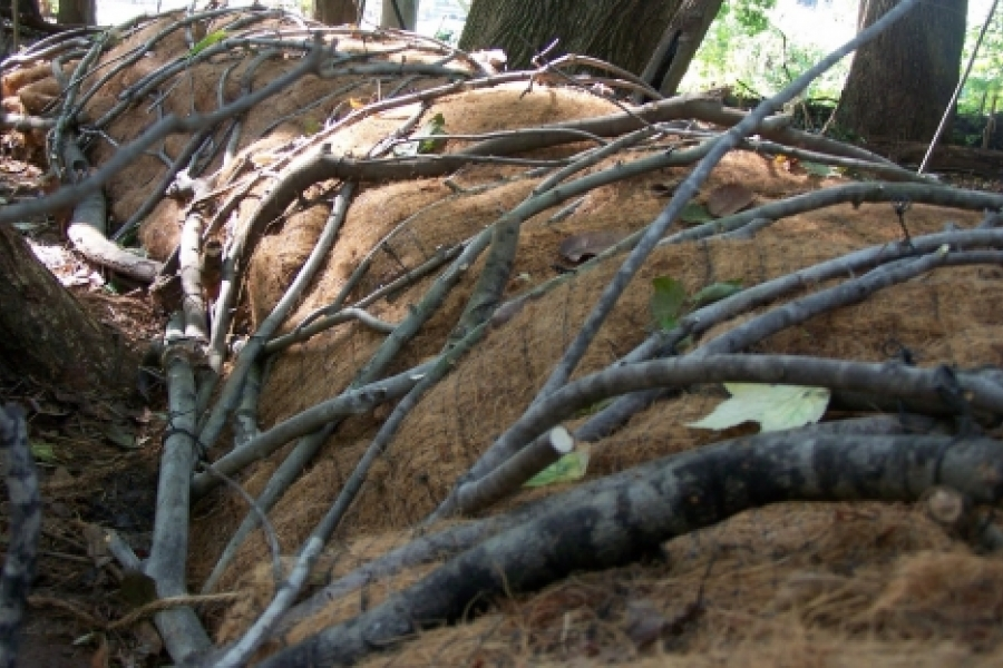 A close-up view of McCormick and O'Brien's twig wrapped Watershed Sculpture. Photo: the artists