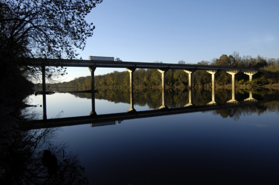 Fred M. Mills Jr. Bridge on N.C. 109 crossing the Pee Dee River, which forms the eastern border of Anson County.