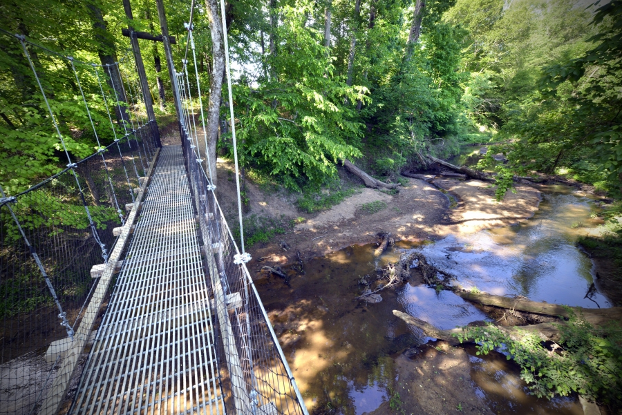 The Buffalo Creek Preserve Trail is a natural surface trail that takes visitors through restored oak-savanna, farmland and along Adams Creek.