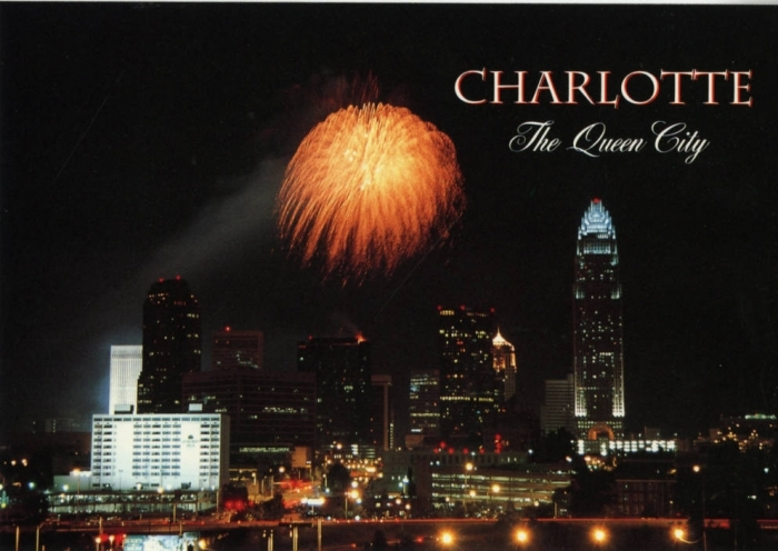 The Charlotte skyline on a vintage postcard. Photo: Atkins Library special collections