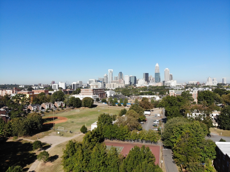 Charlotte's skyline in the distance