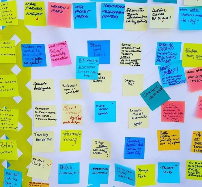 Participants left sticky notes with their desires for Charlotte's center city neighborhoods at a recent event. Responses included a transit hub, more affordable housing and more parks. Photo: Ely Portillo