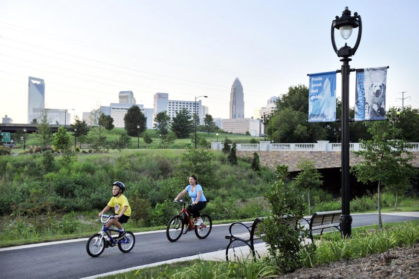 Bikers on Little Sugar Creek Greenway in Charlotte