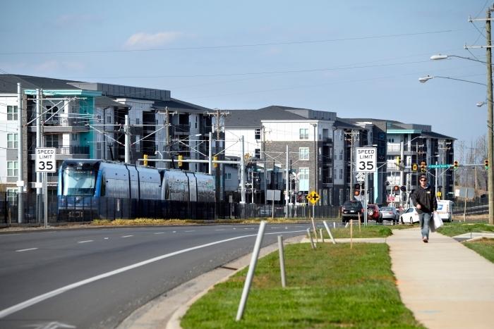 The Blue Line extension connects UNC Charlotte to uptown via light rail. Photo: Nancy Pierce.
