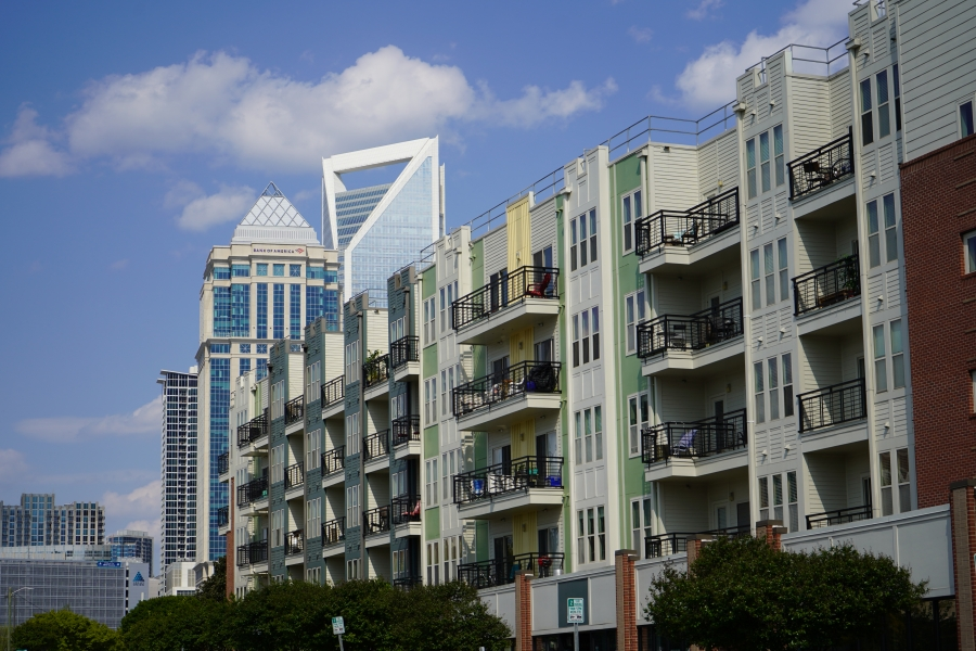 Charlotte skyline and apartments