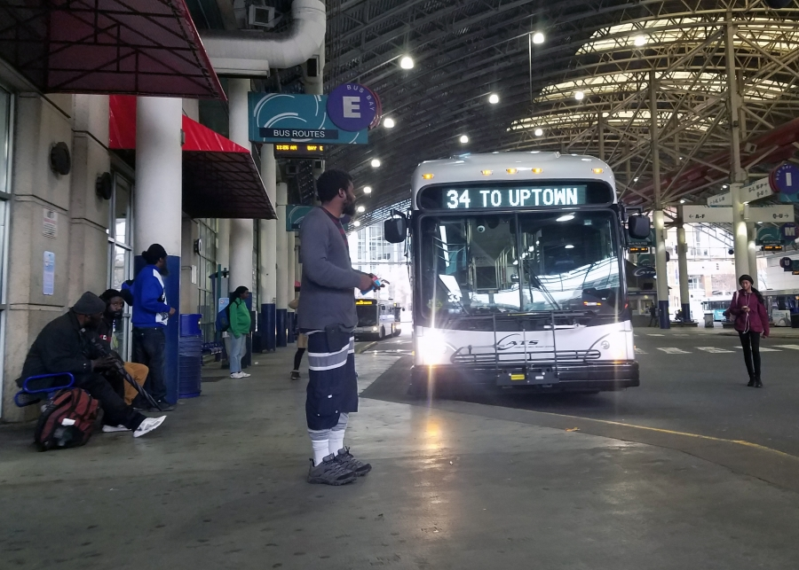 A bus in Charlotte's transit center