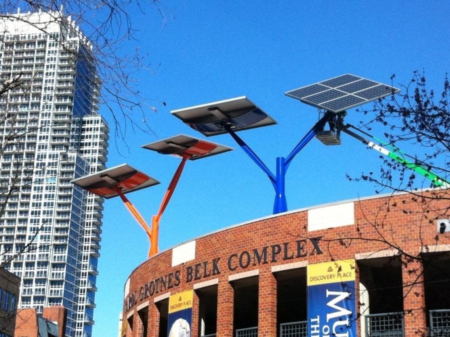 Solar panels atop the Discovery Place parking deck - Spotlight Solar