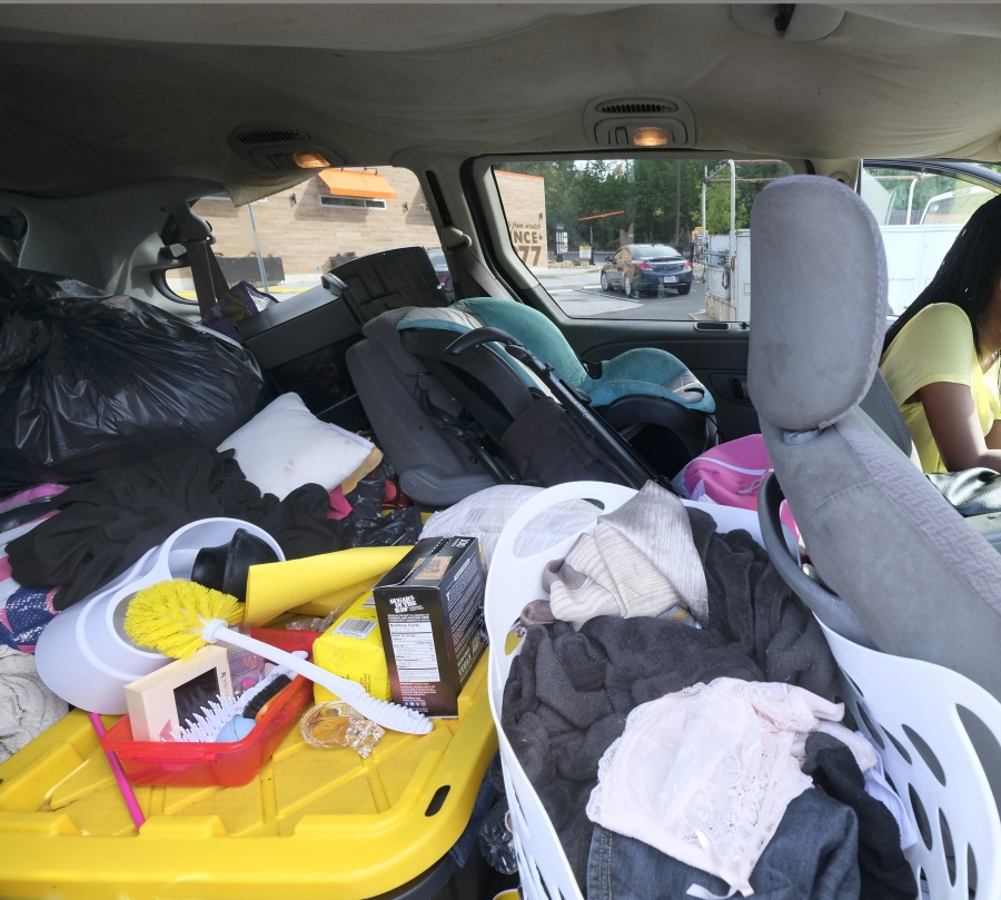 Possessions of homeless family in a van