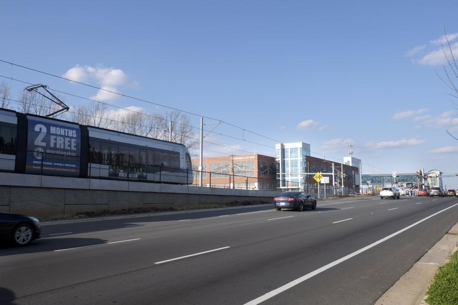 The light rail blue line in University City Charlotte