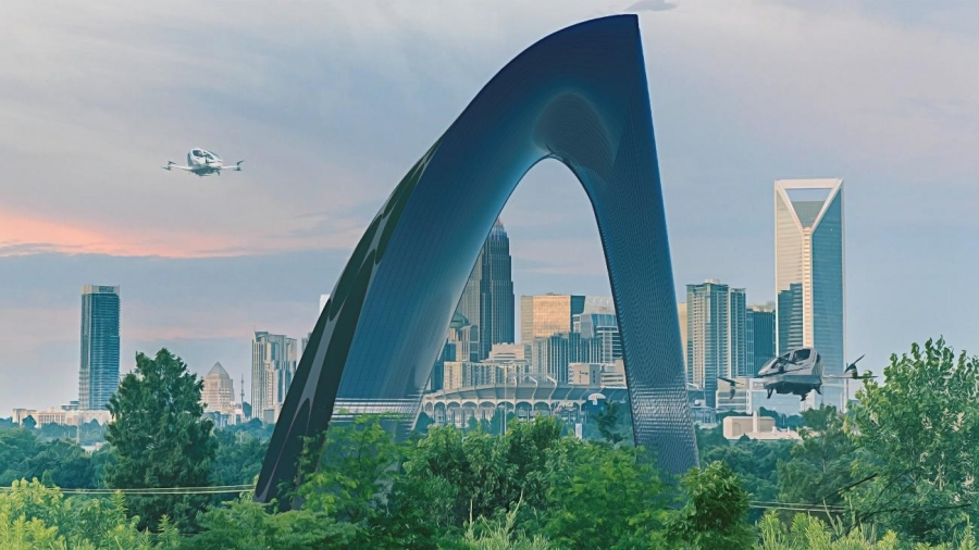 A rendering of a futuristic building in Charlotte. Courtesy Surajeet Das