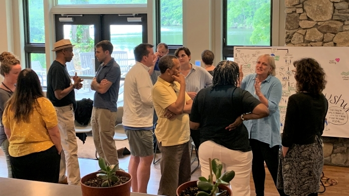 Leaders from urban and rural settings gather and mingle at the the Kanuga Retreat Center in Henderson County. Photo courtesy Wildacres Leadership Initiative