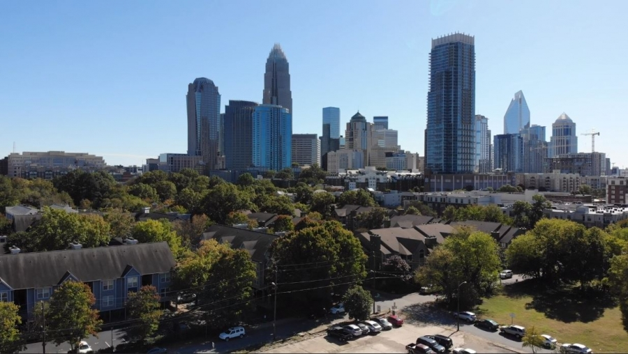 The city of Charlotte's skyline during the day.