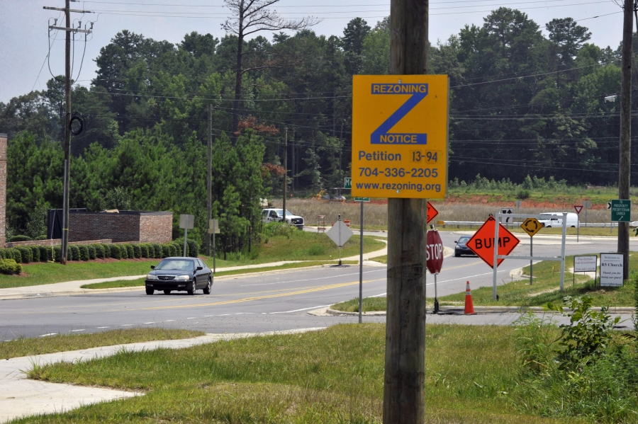 A rezoning notification sign in Charlotte