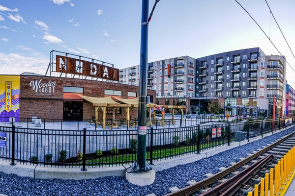 Mixed-use development at the 36th Street light rail station in NoDA. Photo: Nathan Griffin