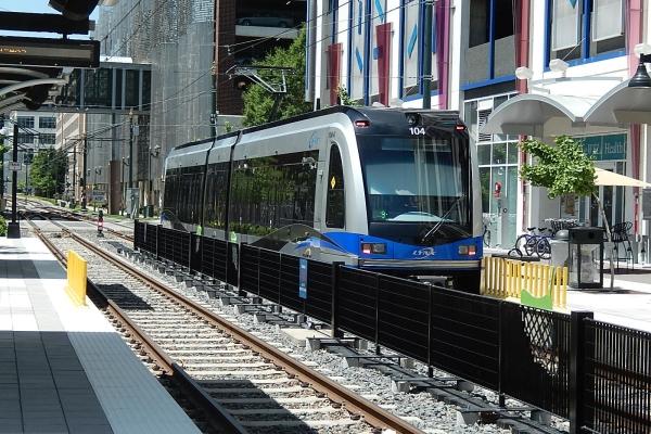 A blue line train in Charlotte