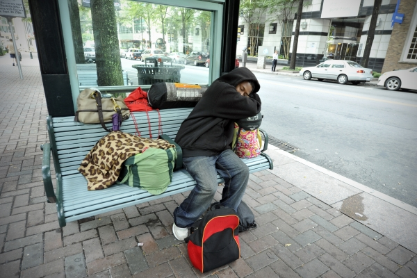 A homeless man in uptown Charlotte