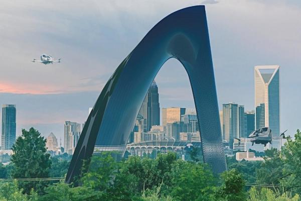 A rendering of a futuristic building in Charlotte. Courtesy Surajeet Das