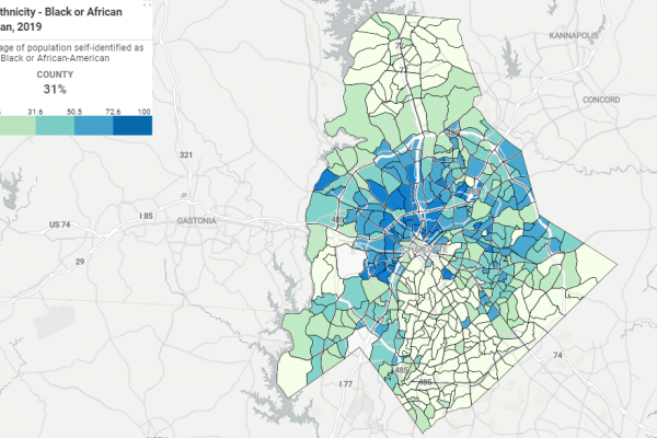 A map showing Black population by neighborhood area in Charlotte