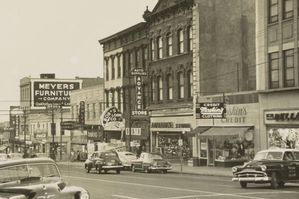 East Trade Street in Charlotte in 1960