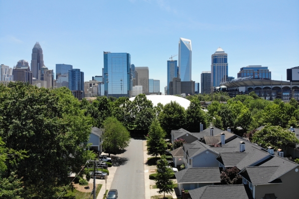 Uptown Charlotte viewed from a drone